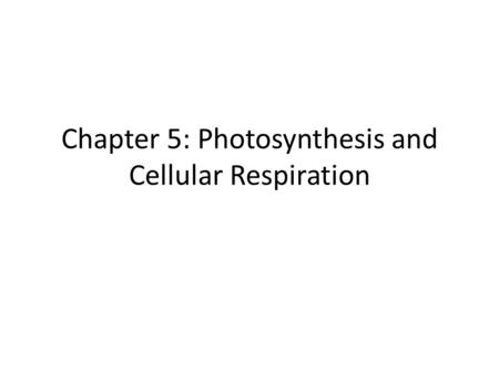 Chapter 5: Photosynthesis and Cellular Respiration.
