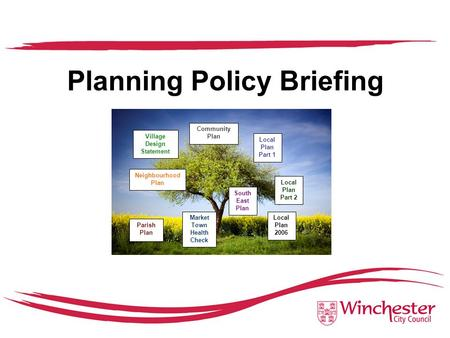 Planning Policy Briefing Community Plan Local Plan Part 1 South East Plan Local Plan Part 2 Local Plan 2006 Village Design Statement Neighbourhood Plan.