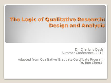 The Logic of Qualitative Research: Design and Analysis Dr. Charlene Desir Summer Conference, 2012 Adapted from Qualitative Graduate Certificate Program.