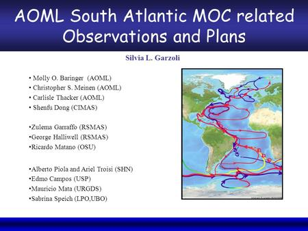 NOAA/CPO Climate Observation Division 6th Annual System Review, September 3-5, 2008 AOML South Atlantic MOC related Observations and Plans Silvia L. Garzoli.