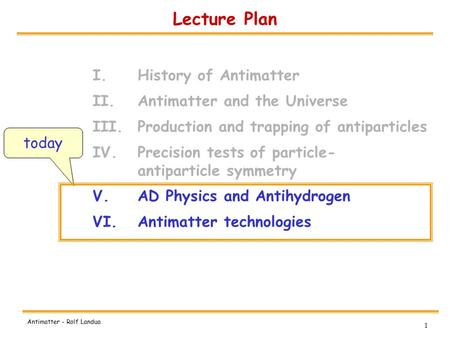 1 Antimatter - Rolf Landua Lecture Plan I.History of Antimatter II.Antimatter and the Universe III.Production and trapping of antiparticles IV.Precision.