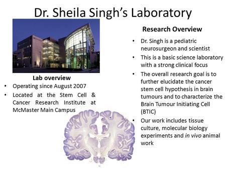 Dr. Sheila Singh's Laboratory Lab overview Operating since August 2007 Located at the Stem Cell & Cancer Research Institute at McMaster Main Campus Research.