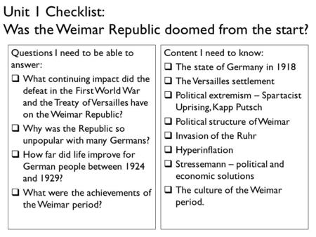 Was Trhe Weimar Republic Doomed from the Start?