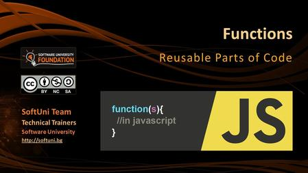 Functions Reusable Parts of Code SoftUni Team Technical Trainers Software University