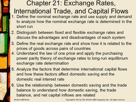 McGraw-Hill/Irwin Copyright © 2011 by The McGraw-Hill Companies, Inc. All rights reserved. Chapter 21: Exchange Rates, International Trade, and Capital.