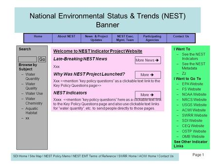 HomeAbout NESTNews & Project Updates NEST Exec. Mgmt. Team Participating Agencies Contact Us SDI Home ! Site Map ! NEST Policy Memo ! NEST EMT Terms of.