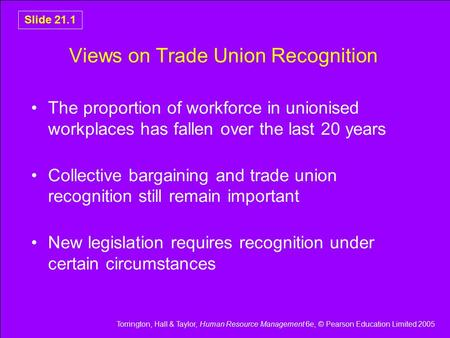 Torrington, Hall & Taylor, Human Resource Management 6e, © Pearson Education Limited 2005 Slide 21.1 Views on Trade Union Recognition The proportion of.