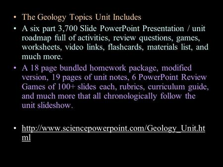 The Geology Topics Unit Includes A six part 3,700 Slide PowerPoint Presentation / unit roadmap full of activities, review questions, games, worksheets,