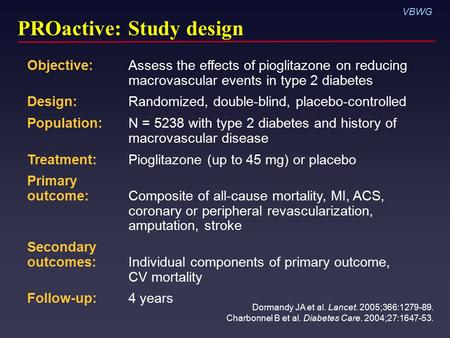 VBWG PROactive: Study design Dormandy JA et al. Lancet. 2005;366:1279-89. Charbonnel B et al. Diabetes Care. 2004;27:1647-53. Objective: Assess the effects.