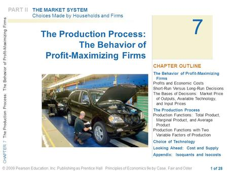 CHAPTER 7 The Production Process: The Behavior of Profit-Maximizing Firms © 2009 Pearson Education, Inc. Publishing as Prentice Hall Principles of Economics.