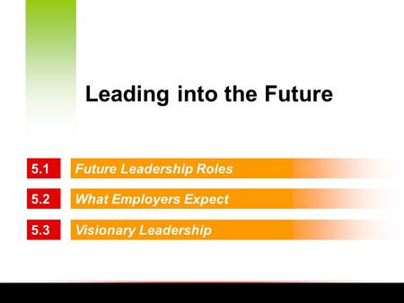 5.1Future Leadership Roles 5.2What Employers Expect 5.3Visionary Leadership Leading into the Future.