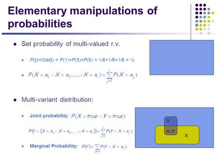 Elementary manipulations of probabilities Set probability of multi-valued r.v. P({x=Odd}) = P(1)+P(3)+P(5) = 1/6+1/6+1/6 = ½ Multi-variant distribution: