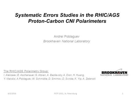 Systematic Errors Studies in the RHIC/AGS Proton-Carbon CNI Polarimeters Andrei Poblaguev Brookhaven National Laboratory The RHIC/AGS Polarimetry Group: