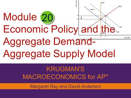 Module Economic Policy and the Aggregate Demand- Aggregate Supply Model odel KRUGMAN'S MACROECONOMICS for AP* 20 Margaret Ray and David Anderson.