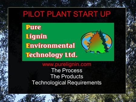 PILOT PLANT START UP www.purelignin.com The Process The Products Technological Requirements.