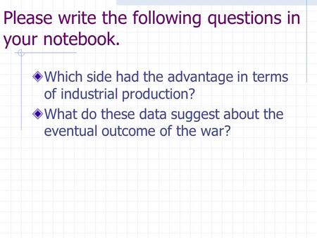 Please write the following questions in your notebook. Which side had the advantage in terms of industrial production? What do these data suggest about.