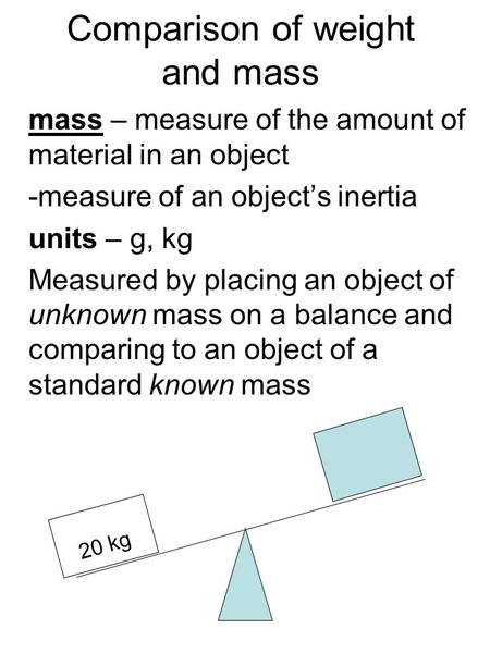 Comparison of weight and mass mass – measure of the amount of material in an object -measure of an object's inertia units – g, kg Measured by placing an.