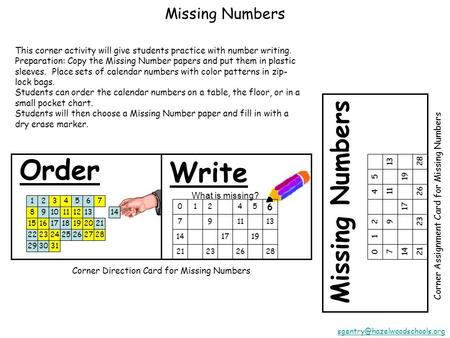 Missing Numbers Corner Assignment Card for Missing Numbers 01245 791113 141719 21232628 Order Write Corner Direction Card.