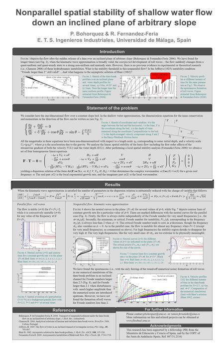 Nonparallel spatial stability of shallow water flow down an inclined plane of arbitrary slope P. Bohorquez & R. Fernandez-Feria E. T. S. Ingenieros Industriales,