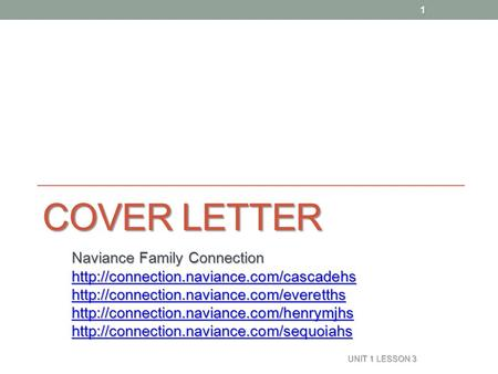 COVER LETTER Naviance Family Connection