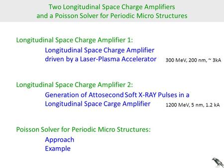 Two Longitudinal Space Charge Amplifiers and a Poisson Solver for Periodic Micro Structures Longitudinal Space Charge Amplifier 1: Longitudinal Space Charge.