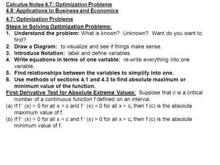 Steps in Solving Optimization Problems: