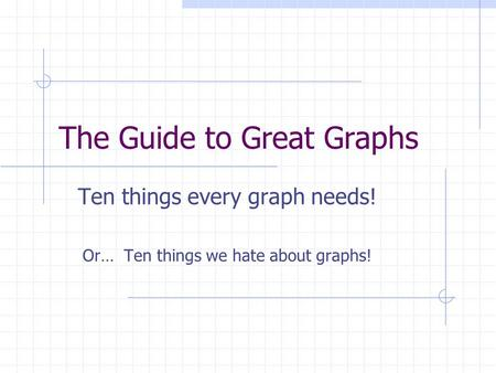 The Guide to Great Graphs Ten things every graph needs! Or… Ten things we hate about graphs!