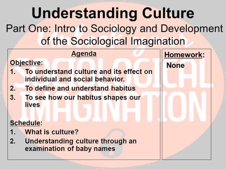 the sociological imagination the effect of The term sociological imagination was coined by the american  in view of this fundamental and pervasive effect wielded on the entire act of scientific.