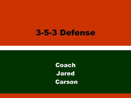 3-5-3 Defense Coach Jared Carson. Position Names l Ends l Nose l Lou l Roy l Mac l Corners l Free Safety l Bandit l Stinger.