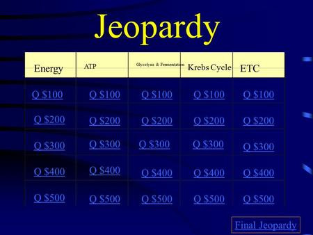 Jeopardy Energy ATP Glycolysis & Fermentation Krebs Cycle ETC Q $100 Q $200 Q $300 Q $400 Q $500 Q $100 Q $200 Q $300 Q $400 Q $500 Final Jeopardy.