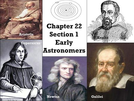 Chapter 22 Section 1 Early Astronomers Aristotle Copernicus Kepler GalileiNewton.