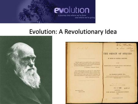 Evolution: A Revolutionary Idea We can allow satellites, planets, suns, universe, nay whole systems of universe, to be governed by laws, but the smallest.