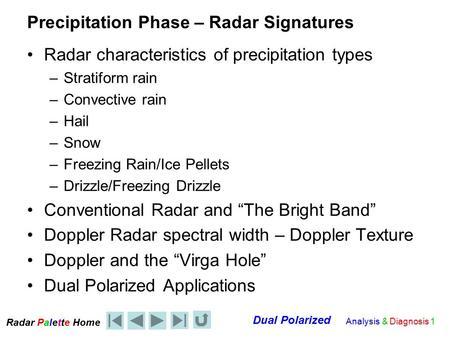 Radar Palet e Home Dual Polarized Analysis & Diagnosis 1 Precipitation Phase – Radar Signatures Radar characteristics of precipitation types –Stratiform.