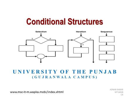 Conditional Structures UNIVERSITY OF THE PUNJAB (GUJRANWALA CAMPUS) ADNAN BABAR MT14028 CR www.msc-it-m.wapka.mobi/index.xhtml.