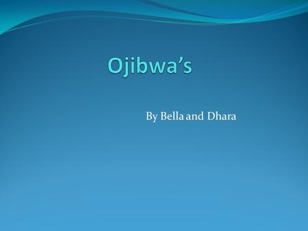 By Bella and Dhara. Ojibwa's Location  The Ojibwa's lived in Minnesota, Wisconsin, Southern Canada, and Michigan.