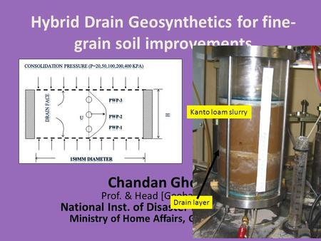 Hybrid Drain Geosynthetics for fine- grain soil improvements Chandan Ghosh Prof. & Head [Geohazards] National Inst. of Disaster Management Ministry of.
