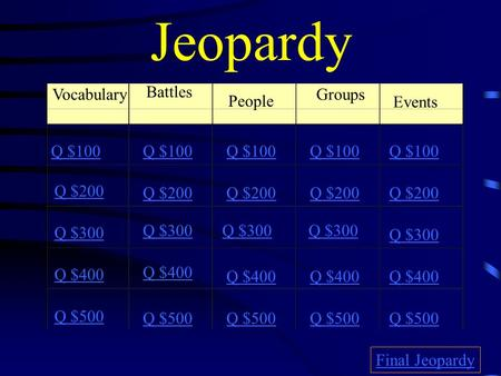 Jeopardy Vocabulary Battles People Groups Events Q $100 Q $200 Q $300 Q $400 Q $500 Q $100 Q $200 Q $300 Q $400 Q $500 Final Jeopardy.