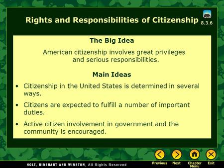 Rights and Responsibilities of Citizenship The Big Idea American citizenship involves great privileges and serious responsibilities. Main Ideas Citizenship.