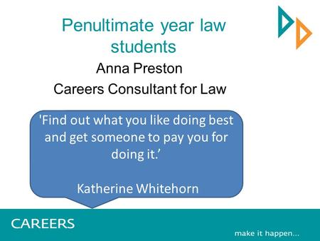 Penultimate year law students Anna Preston Careers Consultant for Law 'Find out what you like doing best and get someone to pay you for doing it.' Katherine.
