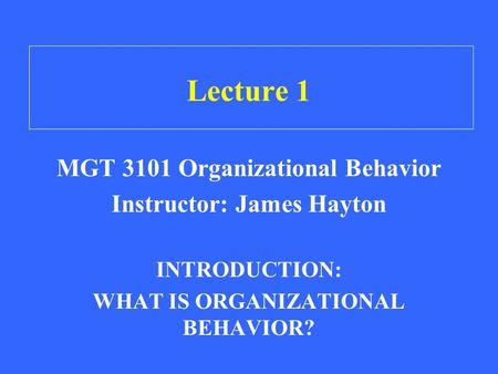 Lecture 1 MGT 3101 Organizational Behavior Instructor: James Hayton INTRODUCTION: WHAT IS ORGANIZATIONAL BEHAVIOR?