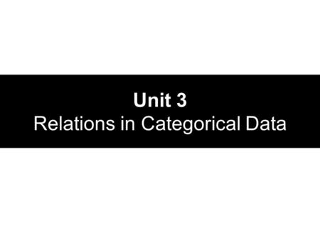 Unit 3 Relations in Categorical Data. Looking at Categorical Data Grouping values of quantitative data into specific classes We use counts or percents.
