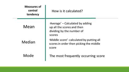 Measures of central tendency Mean Median Mode How is it calculated? ' Average' – Calculated by adding up all the scores and then dividing by the number.