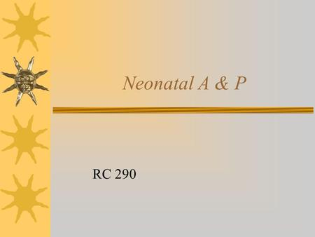 Neonatal A & P RC 290. Neonate Compared to Adult  More compliant and flexible thorax  Large tongue  Large U-shaped epiglottis  Narrowest part of upper.