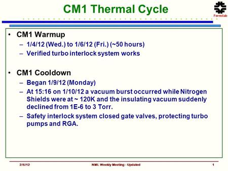 CM1 Thermal Cycle CM1 Warmup –1/4/12 (Wed.) to 1/6/12 (Fri.) (~50 hours) –Verified turbo interlock system works CM1 Cooldown –Began 1/9/12 (Monday) –At.