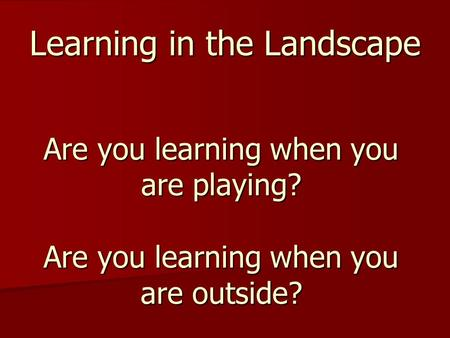 Learning in the Landscape Are you learning when you are playing? Are you learning when you are outside?