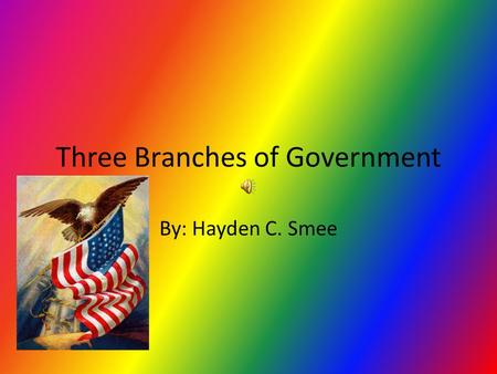 Three Branches of Government By: Hayden C. Smee The Executive Branch The Executive Branch is run by the President and Vice President. The Executive Branch.