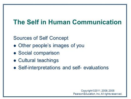 Copyright ©2011, 2008, 2005 Pearson Education, Inc. All rights reserved. The Self in Human Communication Sources of Self Concept Other people's images.