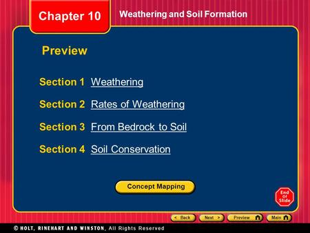 < BackNext >PreviewMain Weathering and Soil Formation Section 1 WeatheringWeathering Section 2 Rates of WeatheringRates of Weathering Section 3 From Bedrock.