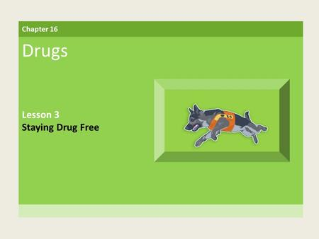 Chapter 16 Drugs Lesson 3 Staying Drug Free. Building Vocabulary drug free A characteristic of a person not taking illegal drugs or of a place where no.