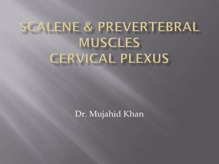 Dr. Mujahid Khan.  The scalenus anterior muscle is a key muscle in understanding the root of the neck  It is deeply placed  It descends almost vertically.